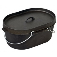 10 Qt Oval Dutch Oven / Camp Oven Pre-seasoned With Lipped Lid image