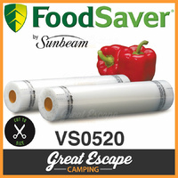 Sunbeam VS0520 FoodSaver Food Vacuum Sealer Rolls. 2x 28CM x 5.4M Rolls image