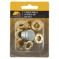 Eyelet Tool and 10 Eyelets Set - SIze #4 image